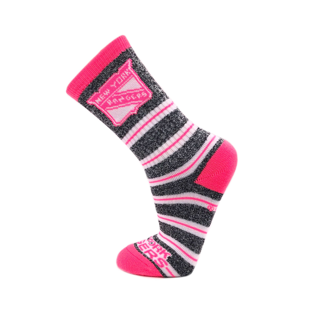 New York Rangers Melange Stripe Pink Socks