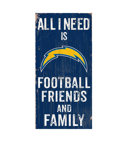 Los Angeles Chargers Football, Friends & Family Wooden Sign