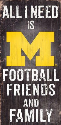 Michigan Wolverines Football, Friends & Family Wooden Sign