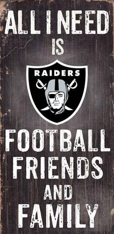 Oakland Raiders Football, Friends & Family Wooden Sign