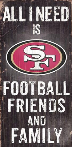 San Francisco 49ers Football, Friends & Family Wooden Sign