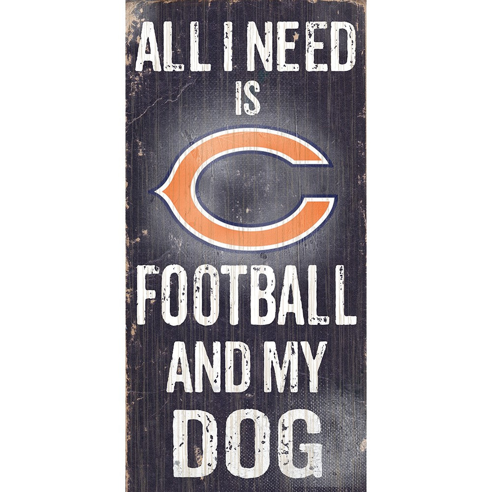 Chicago Bears Football and My Dog Wooden Sign