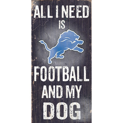 Detroit Lions Football and My Dog Wooden Sign