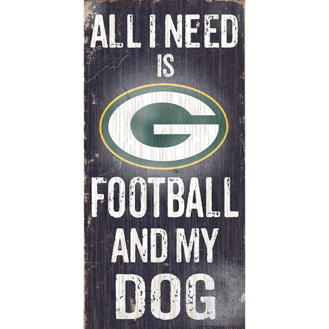 Green Bay Packers Football and My Dog Wooden Sign