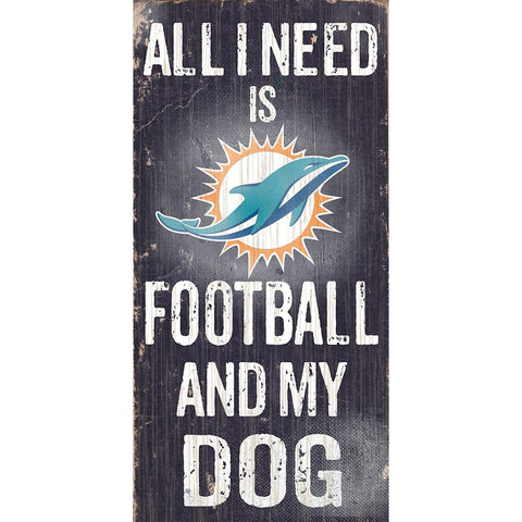 Miami Dolphins Football and My Dog Wooden Sign
