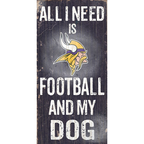 Minnesota Vikings Football and My Dog Wooden Sign