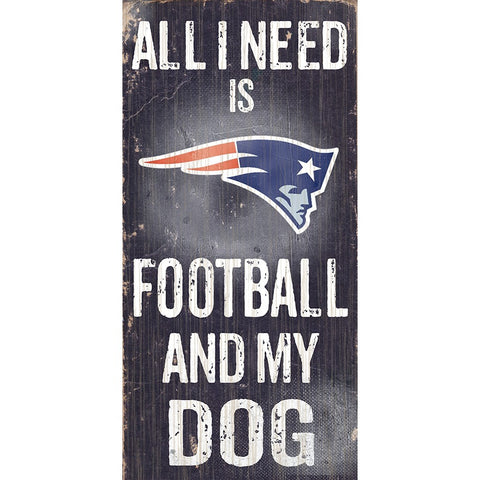 New England Patriots Football and My Dog Wooden Sign