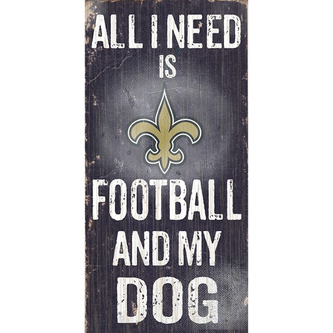 New Orleans Saints Football and My Dog Wooden Sign