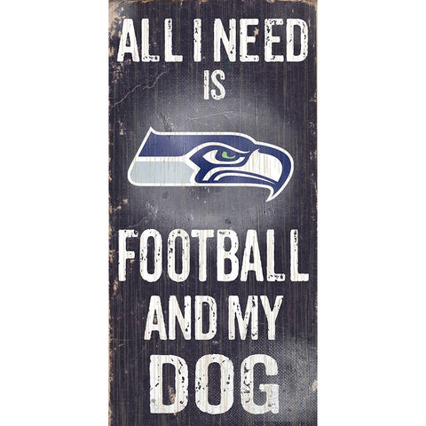 Seattle Seahawks Football and My Dog Wooden Sign
