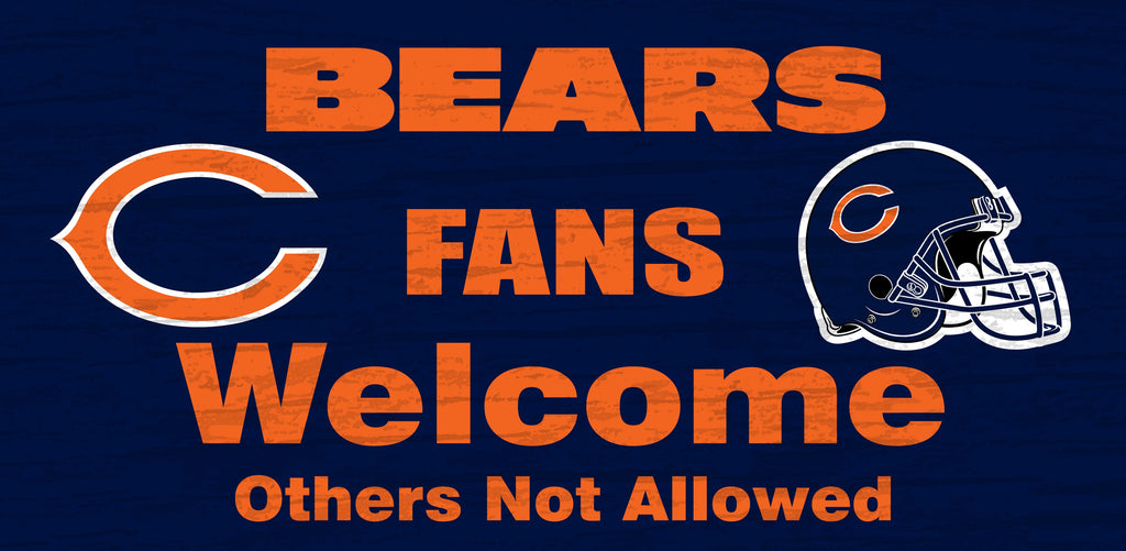 Chicago Bears Fans Welcome Wooden Sign