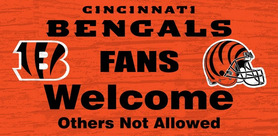 Cincinnati Bengals Fans Welcome Wooden Sign