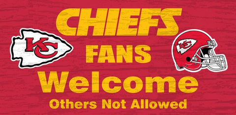 Kansas City Chiefs Fans Welcome Wooden Sign