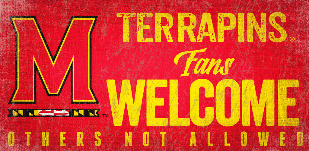 Maryland Terrapins Fans Welcome Wooden Sign
