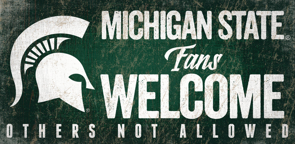 Michigan State Spartans Fans Welcome Wooden Sign