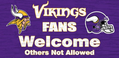 Minnesota Vikings Fans Welcome Wooden Sign