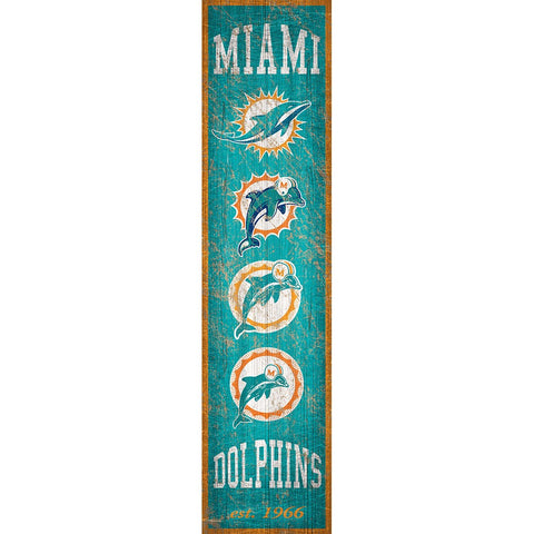 Miami Dolphins Heritage Vertical Wooden Sign