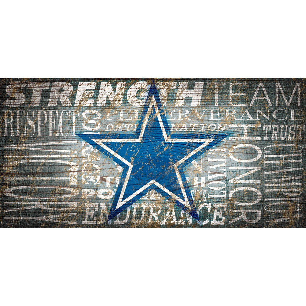 Dallas Cowboys Heritage Word Collage Wooden Sign