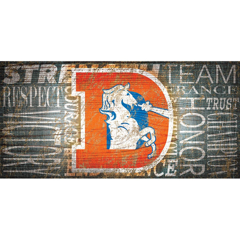 Denver Broncos Heritage Word Collage Wooden Sign