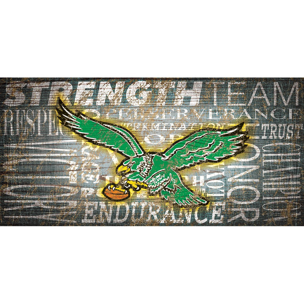 Philadelphia Eagles Heritage Word Collage Wooden Sign