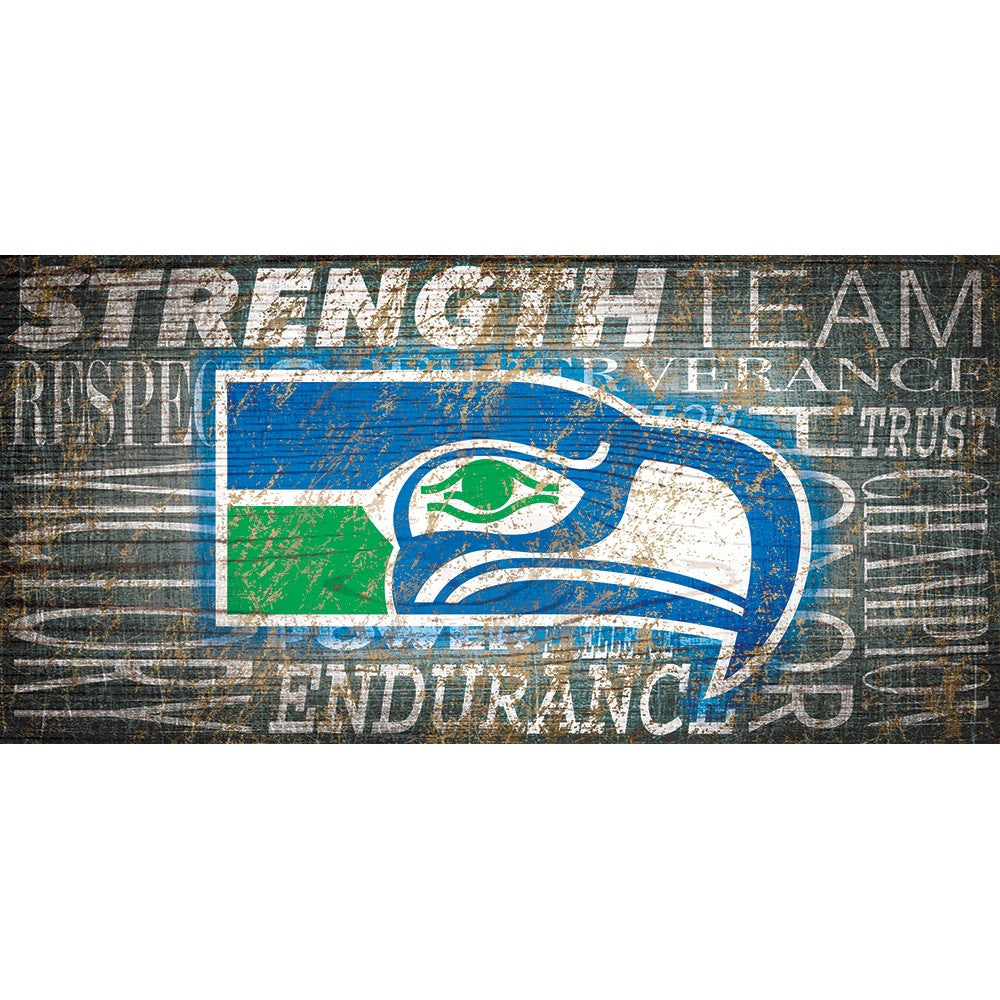 Seattle Seahawks Heritage Word Collage Wooden Sign