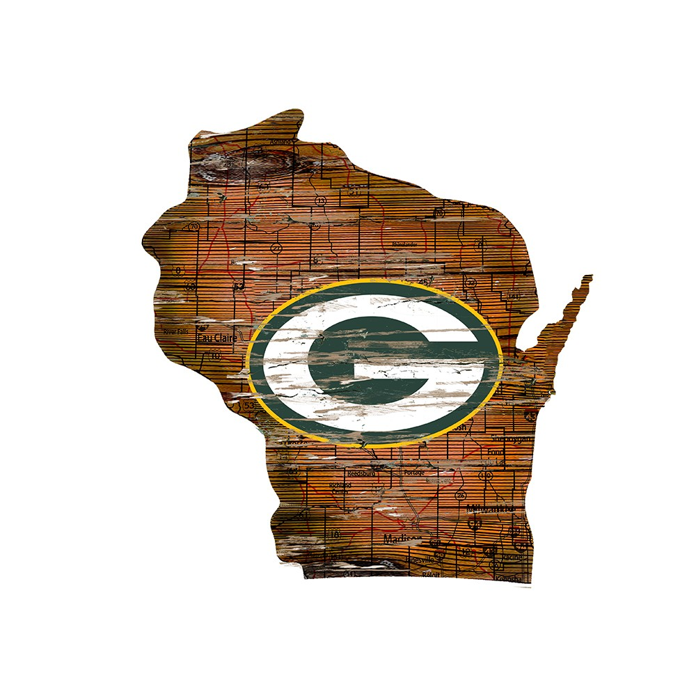 Green Bay Packers Large State Cutout Wooden Sign