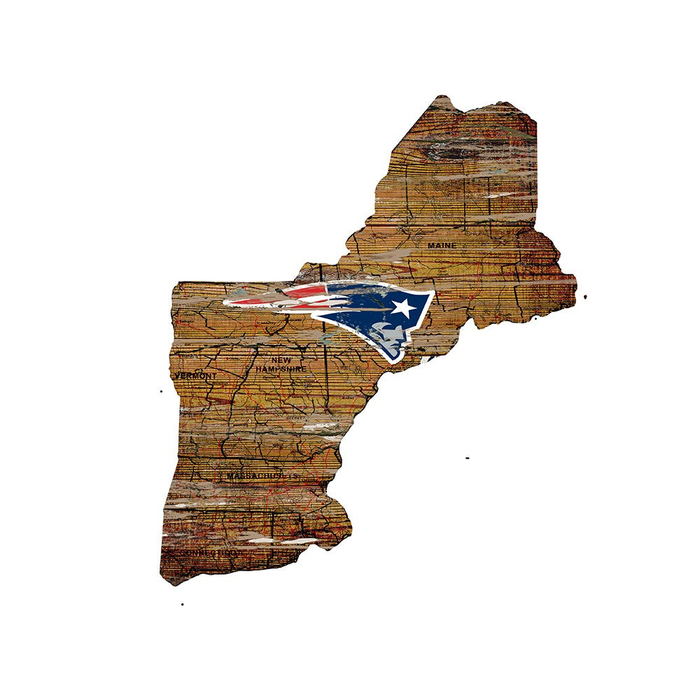 New England Patriots Large State Cutout Wooden Sign