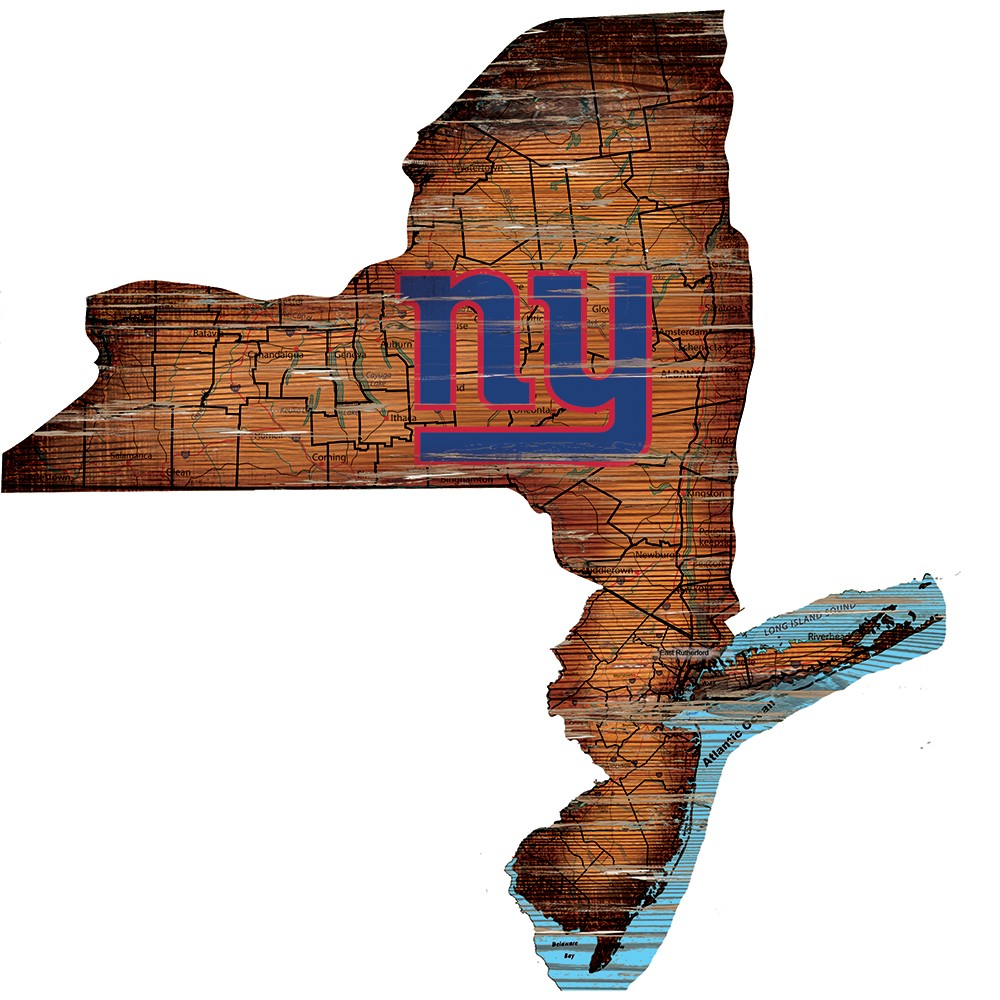 New York Giants Large State Cutout Wooden Sign