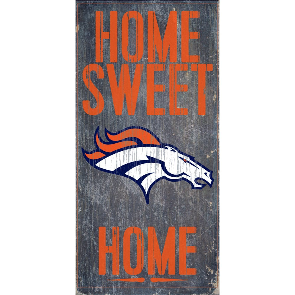 Denver Broncos Home Sweet Home Wooden Sign