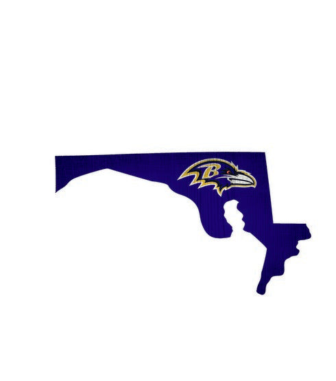 Baltimore Ravens Team Color State Cutout Wooden Sign