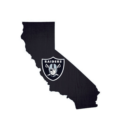 Oakland Raiders Team Color State Cutout Wooden Sign