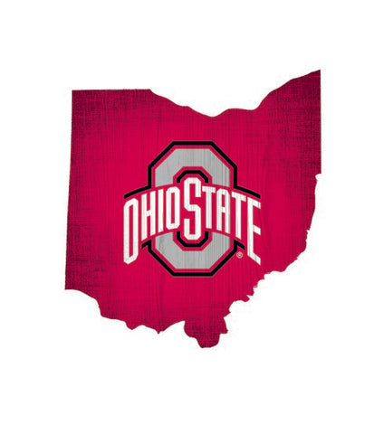 Ohio State Buckeyes Team Color State Cutout Wooden Sign