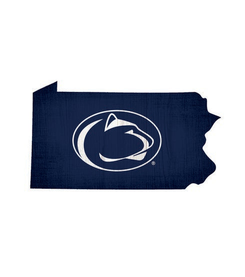 Penn State Nittany Lions Team Color State Cutout Wooden Sign