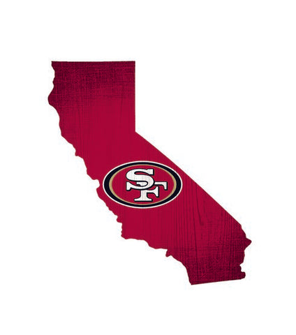 San Francisco 49ers Team Color State Cutout Wooden Sign