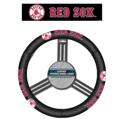 Boston Red Sox Leather Steering Wheel
