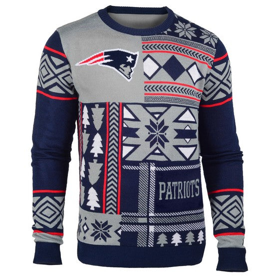 New England Patriots 1Dz Patches Ugly Sweater