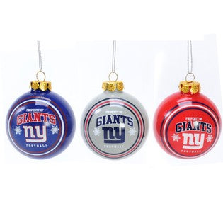 New York Giants 3pc Glass Ball Ornament