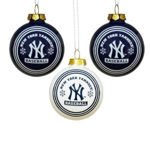 New York Yankees 3pc Glass Ball Ornament