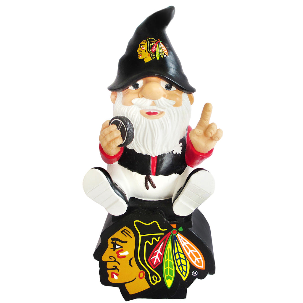 Chicago Blackhawks Gnome Sitting on Logo