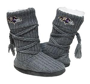 Baltimore Ravens Knit Boots Gray