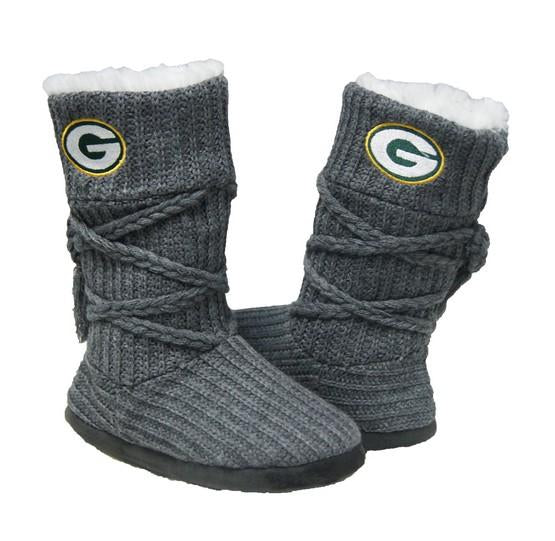 Green Bay Packers Knit Boots Gray