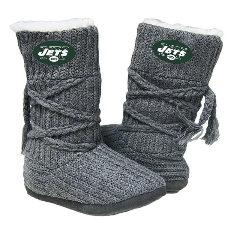 New York Jets Knit Boots Gray