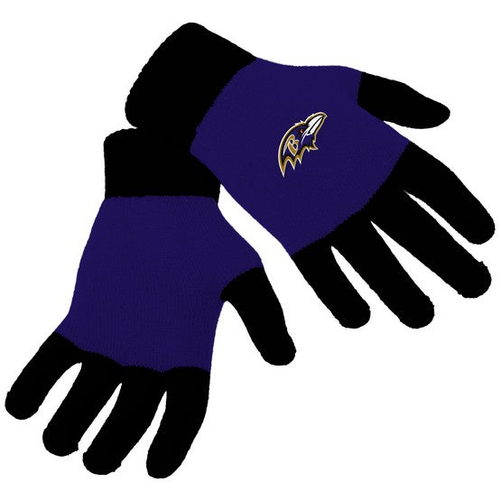 Baltimore Ravens Knit Colorblock Gloves