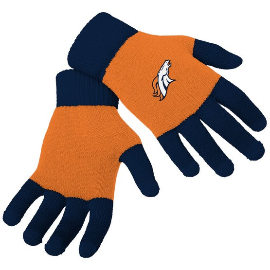 Denver Broncos Knit Colorblock Gloves