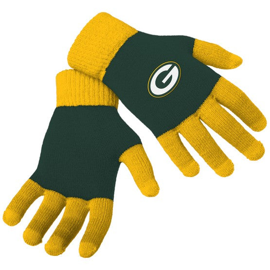 Green Bay Packers Knit Colorblock Gloves