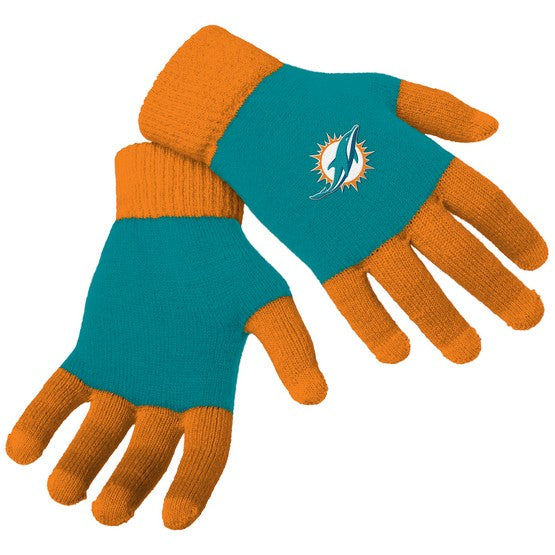 Miami Dolphins Knit Colorblock Gloves