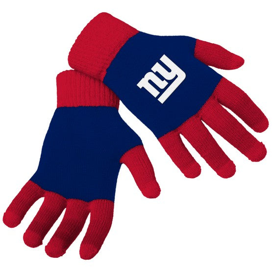 New York Giants Knit Colorblock Gloves
