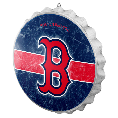 Boston Red Sox Metal Distressed Bottle Cap Sign