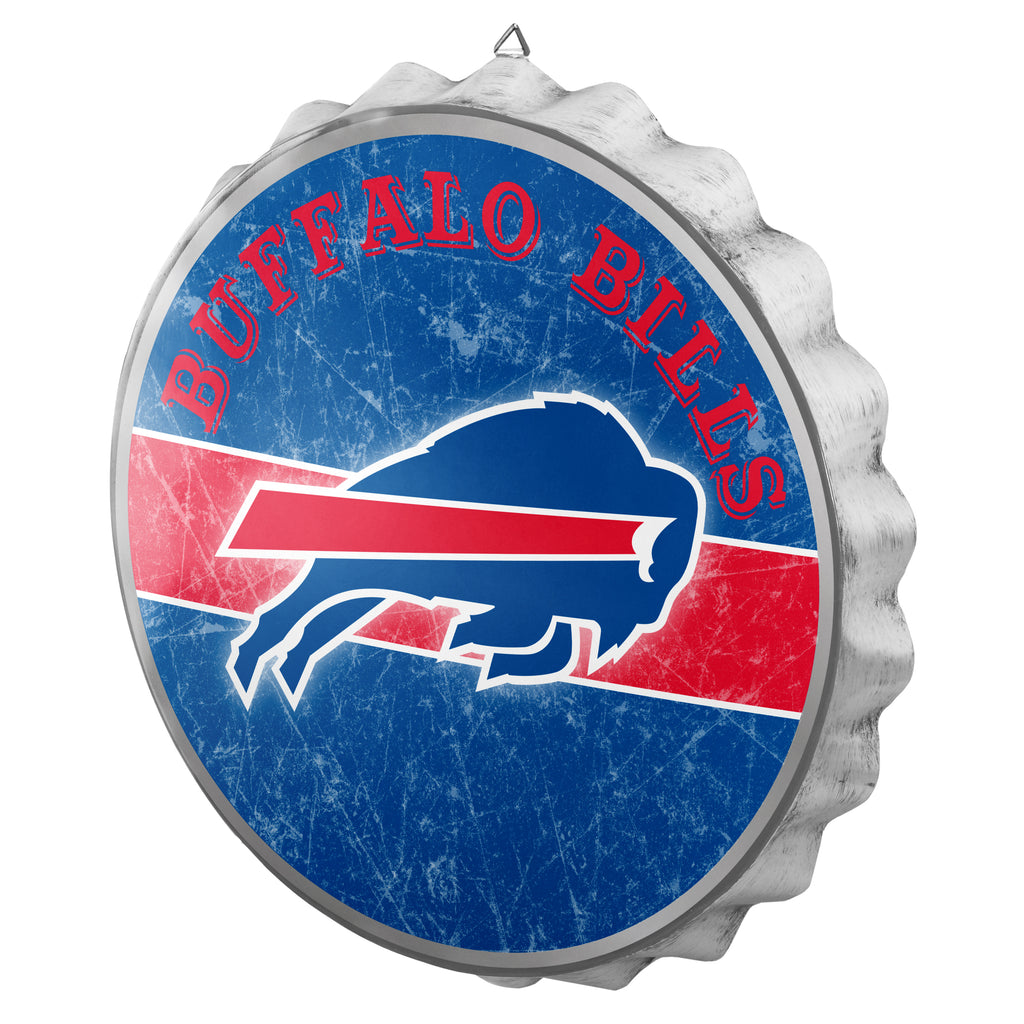 Buffalo Bills Metal Distressed Bottle Cap Sign