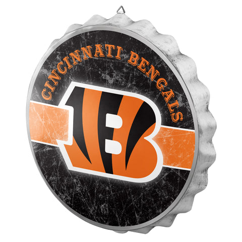 Cincinnati Bengals Metal Distressed Bottle Cap Sign