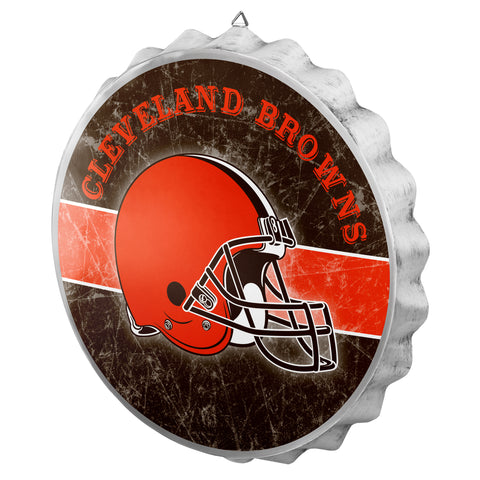 Cleveland Browns Metal Distressed Bottle Cap Sign